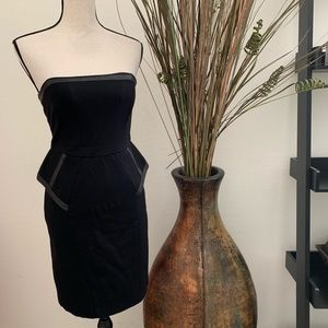 Black Strapless Peplum Cocktail Dress
